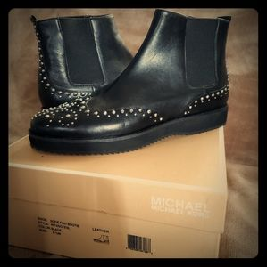 Michael Kors Black Leather Studded ankle boots